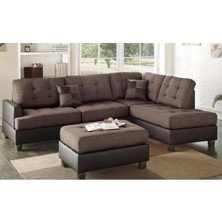 baxton studio dobson leather modern sectional sofa comfortable bed sydney ivory tufted and ottoman - free ...