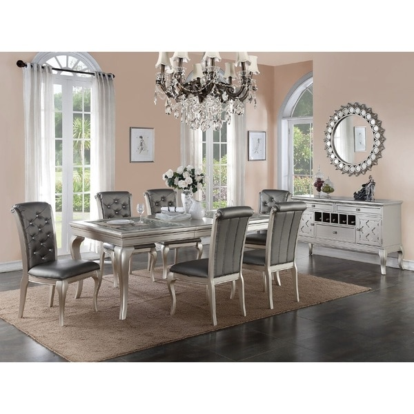 dining chairs fabric swivel chair manufacturers shop bermington silver wood and set of 6 free shipping today overstock com 12854004