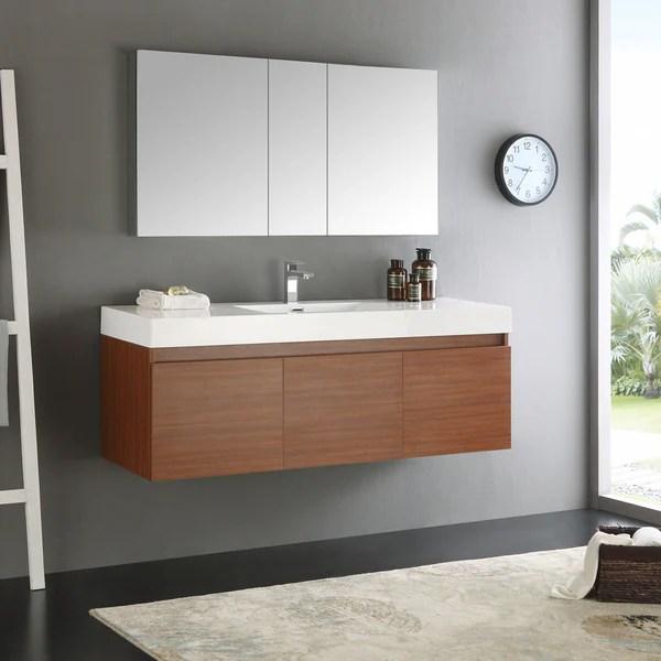 Shop Fresca Mezzo WhiteTeak 60 Inch Single Sink Bathroom