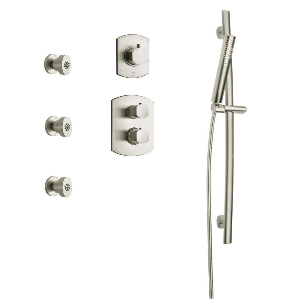 latoscana novello combination 6 2 handle 1 spray shower faucet with hand shower in brushed nickel