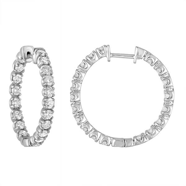 Shop 14k White Gold 3ct TDW Diamond Inside-out Hoop