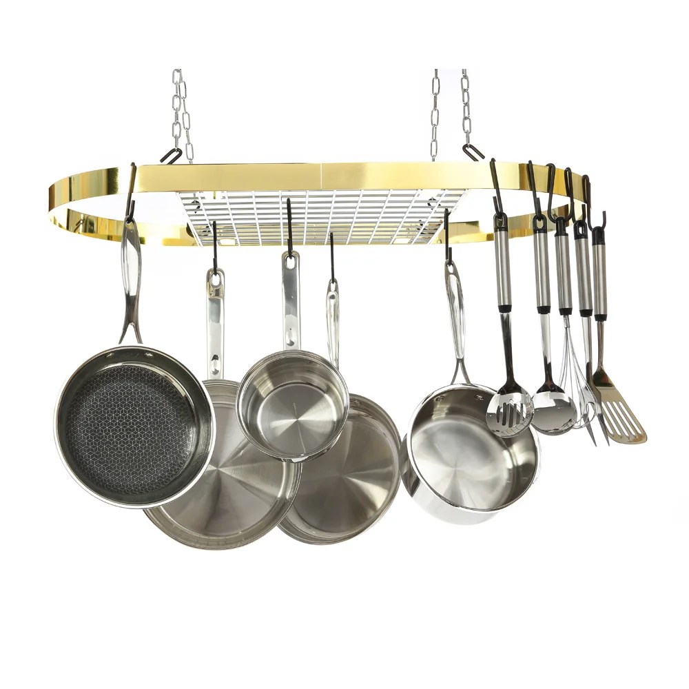 Kinetic GoGreen Classicor Two-tone Polished Brass and Chrome Finish Wrought Iron Oval Pot Rack