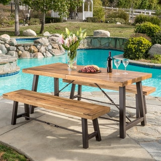outdoor puerto acacia wood piece picnic dining set by christopher knight home