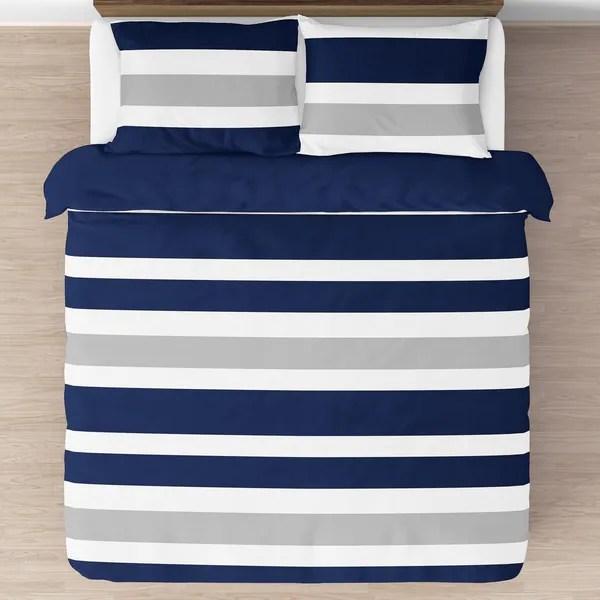 sweet jojo designs navy blue and gray stripe 3 piece full queen size comforter set