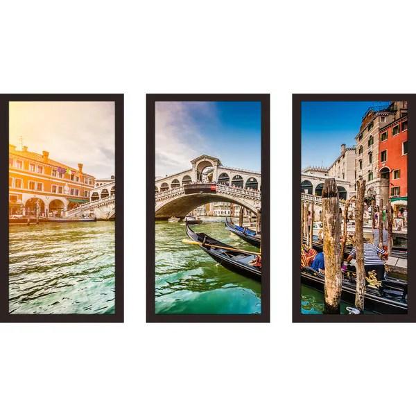 Shop Rialto Bridge At Sunset In Venice Framed Plexiglass Wall Art ...
