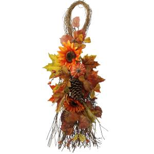 Faux 36-inch Fall Teardrop with Sunflowers, Pumpkins, Wheat
