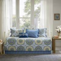 Madison Park Moraga Blue Printed 6 Piece Day Bed Cover Set ...