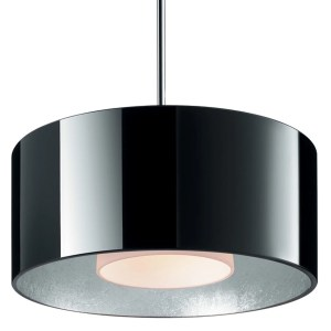 Bruck Lighting Cantara Chrome LED 4-inch Canopy Pendant with Black Outer/Silver Inner Glass Shade