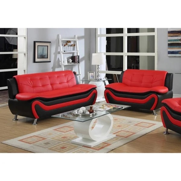 black modern sofa set traditional sets living room shop roselia relaxing contemporary style 2pc red free shipping today overstock com 12981435