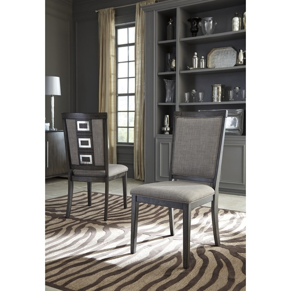 gray dining chair outdoor and ottoman cover shop signature design by ashley chadoni chairs set of two