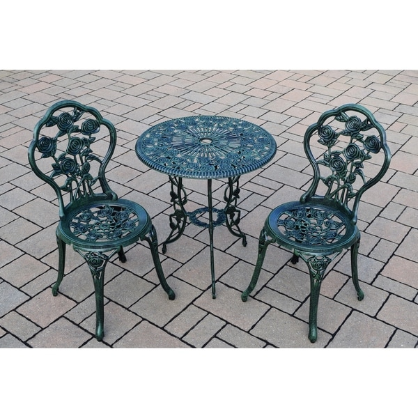 green metal bistro chairs ergonomic chair guide shop camellia cast aluminum verdi 3 piece set with table and 2