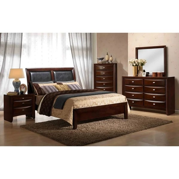 Shop Emily Contemporary Wood Bedroom Set with Bed Dresser Mirror Night Stand Chest Queen