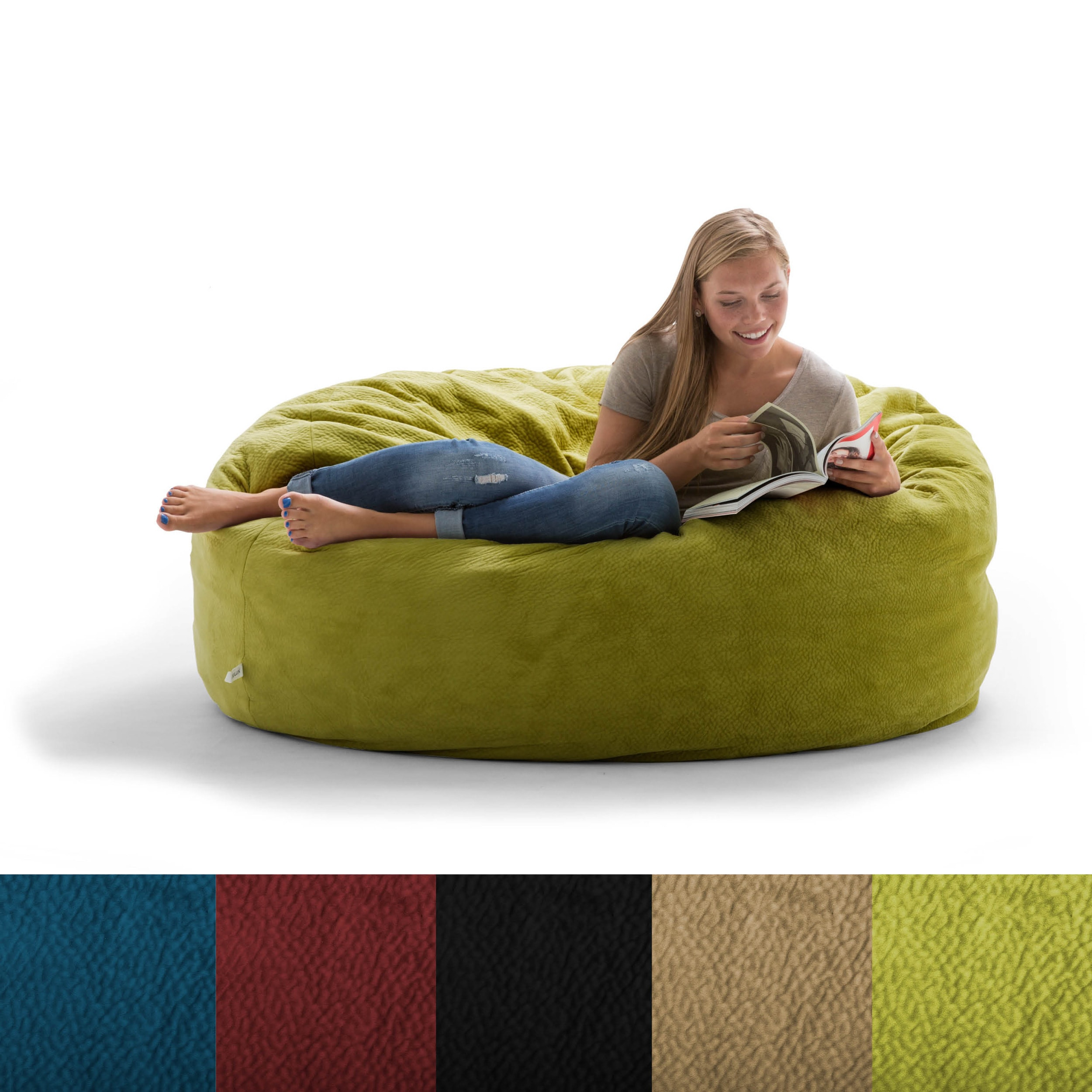 Foam Bean Bag Chair Fufsack Big Joe Lux King Textured Polyester And Memory