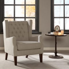 Wing Chairs For Living Room Patio String Chair Shop Madison Park Roan Linen Button Tufted Free