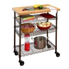 Kitchen Work Tables Swag Curtains For Shop Seville Classics Table Cart With Bamboo Top Bronze