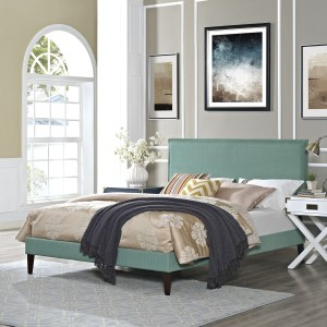 Modway Camille Off-white Fabric/Particleboard/Plastic Platform Bed with Squared Tapered Legs