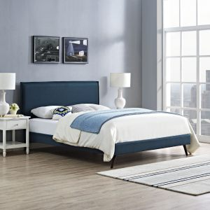 Camille Fabric Azure Platform Bed with Round Splayed Legs
