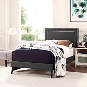 Jessamine Vinyl Platform Bed with Round Tapered Legs in Black