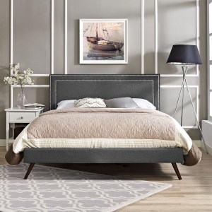 Jessamine Fabric Platform Bed with Round Splayed Legs in Gray
