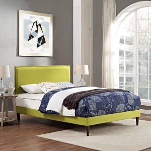 Camille Fabric Platform Bed with Squared Tapered Legs in Wheatgrass