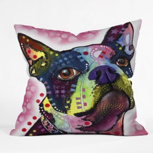 Deny Designs Dean Russo Boston Terrier Multicolor Polyester Throw Pillow