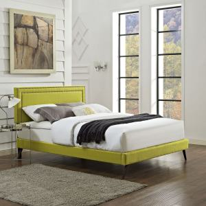 Jessamine Fabric Platform Bed with Round Splayed Legs in Wheatgrass