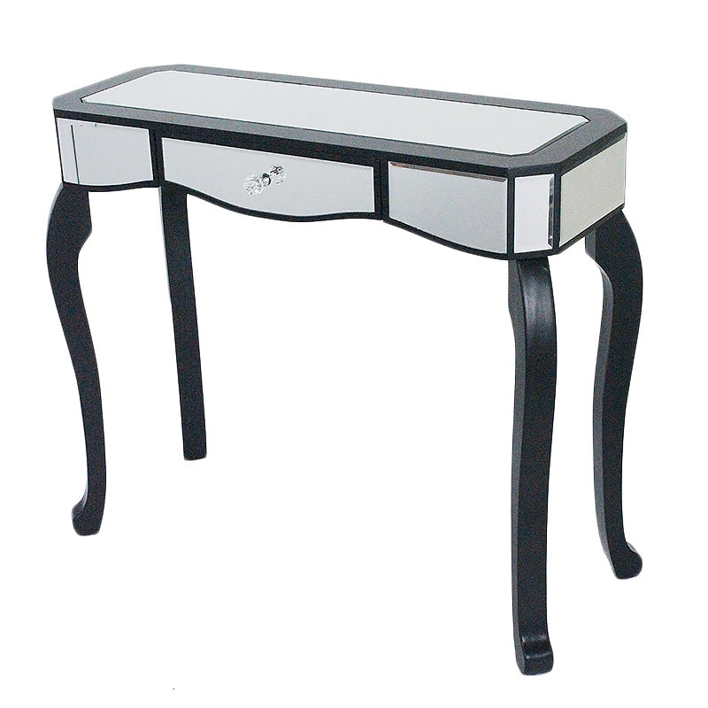 Katrina Single Drawer Wood Mirrored Console Cabinet