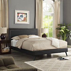 Jessamine Vinyl Platform Bed with Round Splayed Legs in Black
