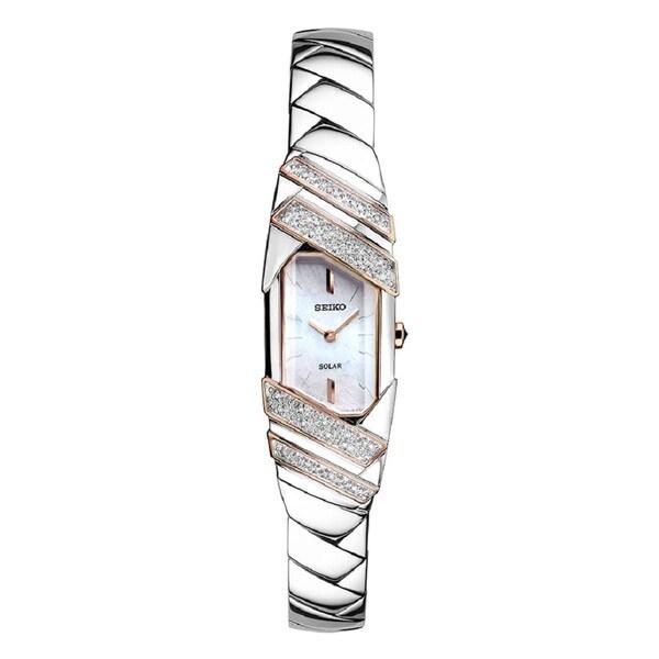 Shop Seiko Women's Stainless Steel and Diamond Solar Watch