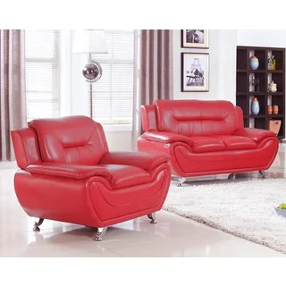 red living room sets small sofa for buy furniture online at overstock com our alice modern faux leather loveseat and chair set 2 pieces