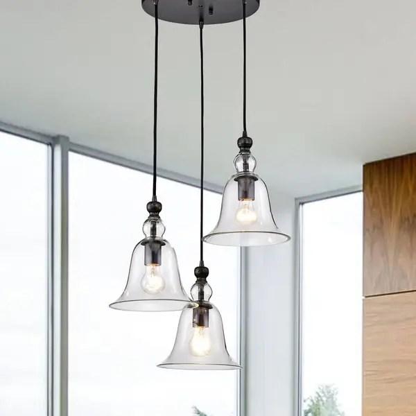 Yamila Bell Shaped Glass Antique Black 3 Light Pendant Chandelier