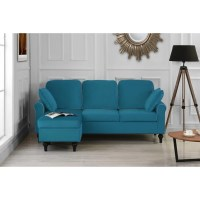 Shop Traditional Small Space Velvet Sectional Sofa with ...