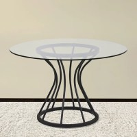 Armen Living Zurich Round Dining Table in Black Finish and ...