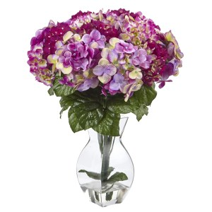 Nearly Natural Purple Hydrangea Silk Flowers with Glass Vase