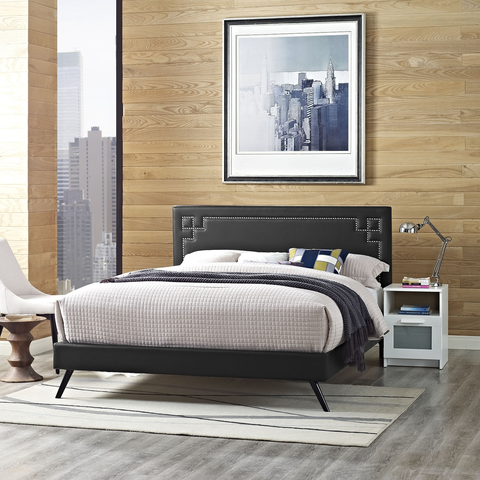 Josie  Black Vinyl Platform Bed with Round Splayed Legs