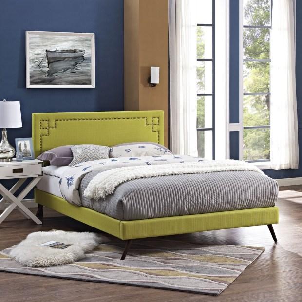Josie  Wheatgrass Fabric Platform Bed with Round Splayed Legs