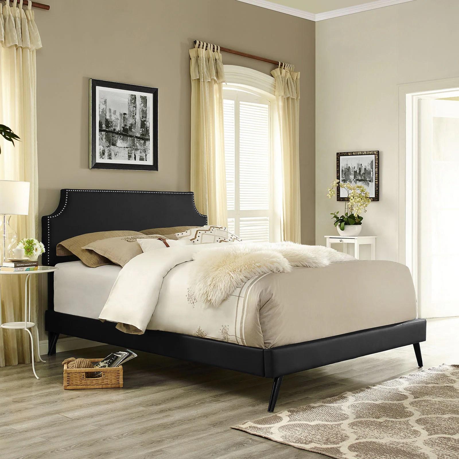 Laura  Black Vinyl Platform Bed with Round Splayed Legs