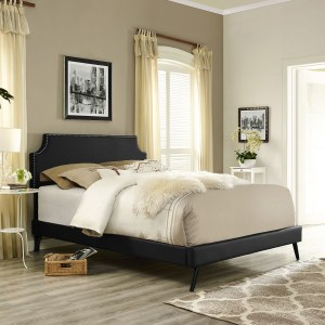 Laura  Black Vinyl Platform Bed with Round Splayed Legs