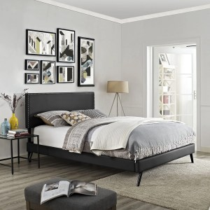 Phoebe Vinyl Platform Bed with Round Splayed Legs in Black