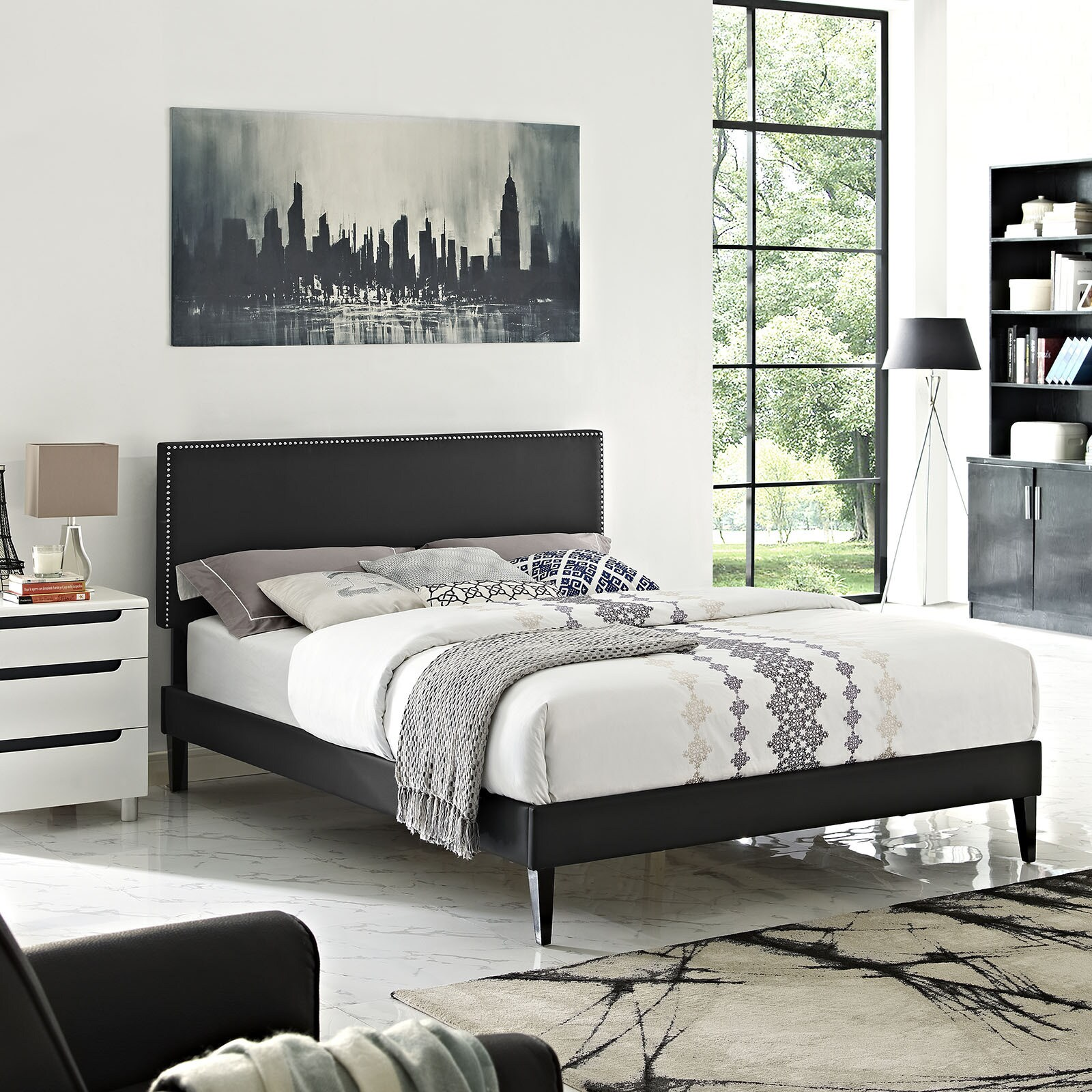 Phoebe Black Vinyl Platform Bed with Squared Tapered Legs