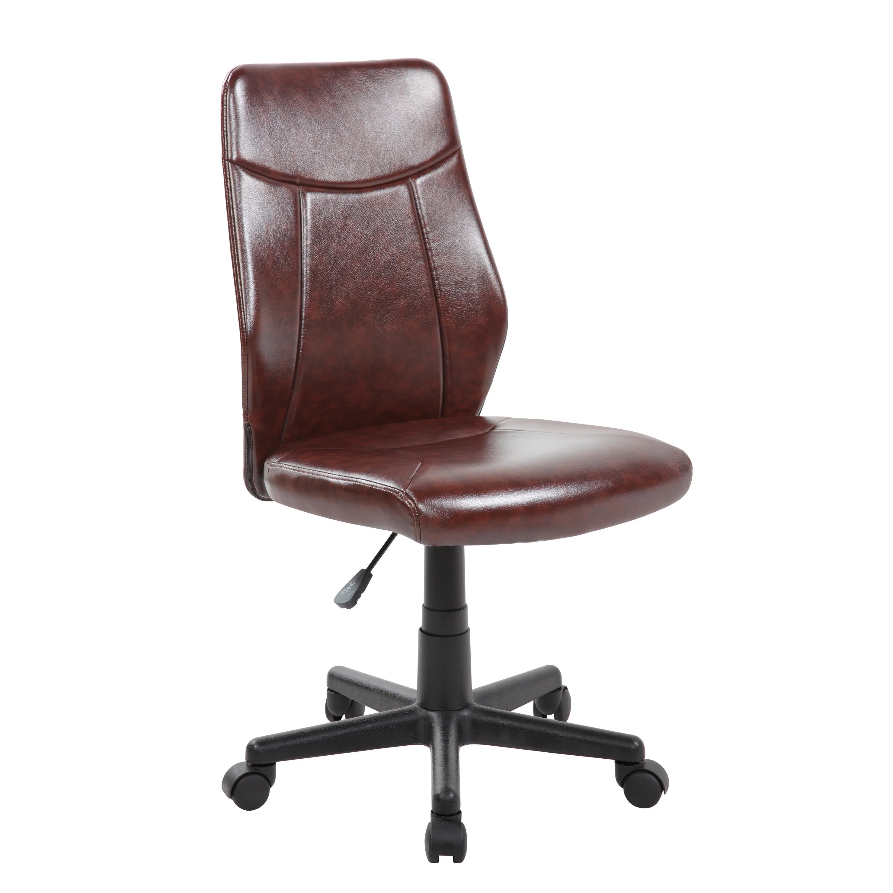 Armless Office Chairs With Wheels Pu Modern Ergonomic Mid Back Armless Executive Computer