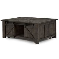 Garrett Rustic Weathered Charcoal Lift Top Sliding Door ...