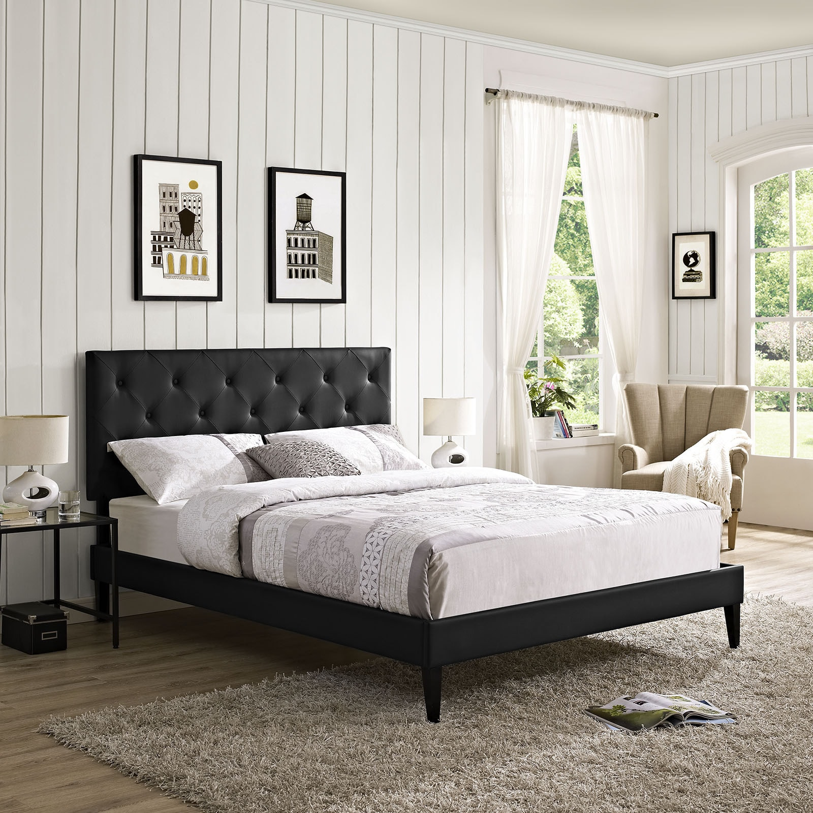 Terisa Black Vinyl Platform Bed with Squared Tapered Legs
