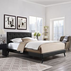 Terisa Black Vinyl Upholstered Platform Bed  with Round Splayed Legs