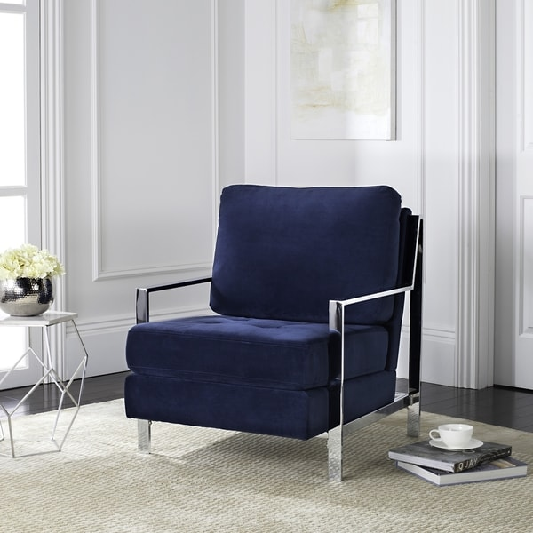 navy blue velvet club chair low folding shop mid century modern glam free