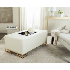 Ottoman Coffee Tables Living Room Interior Design Modern Shop Safavieh Julian Faux Ostrich Tray Cream Table