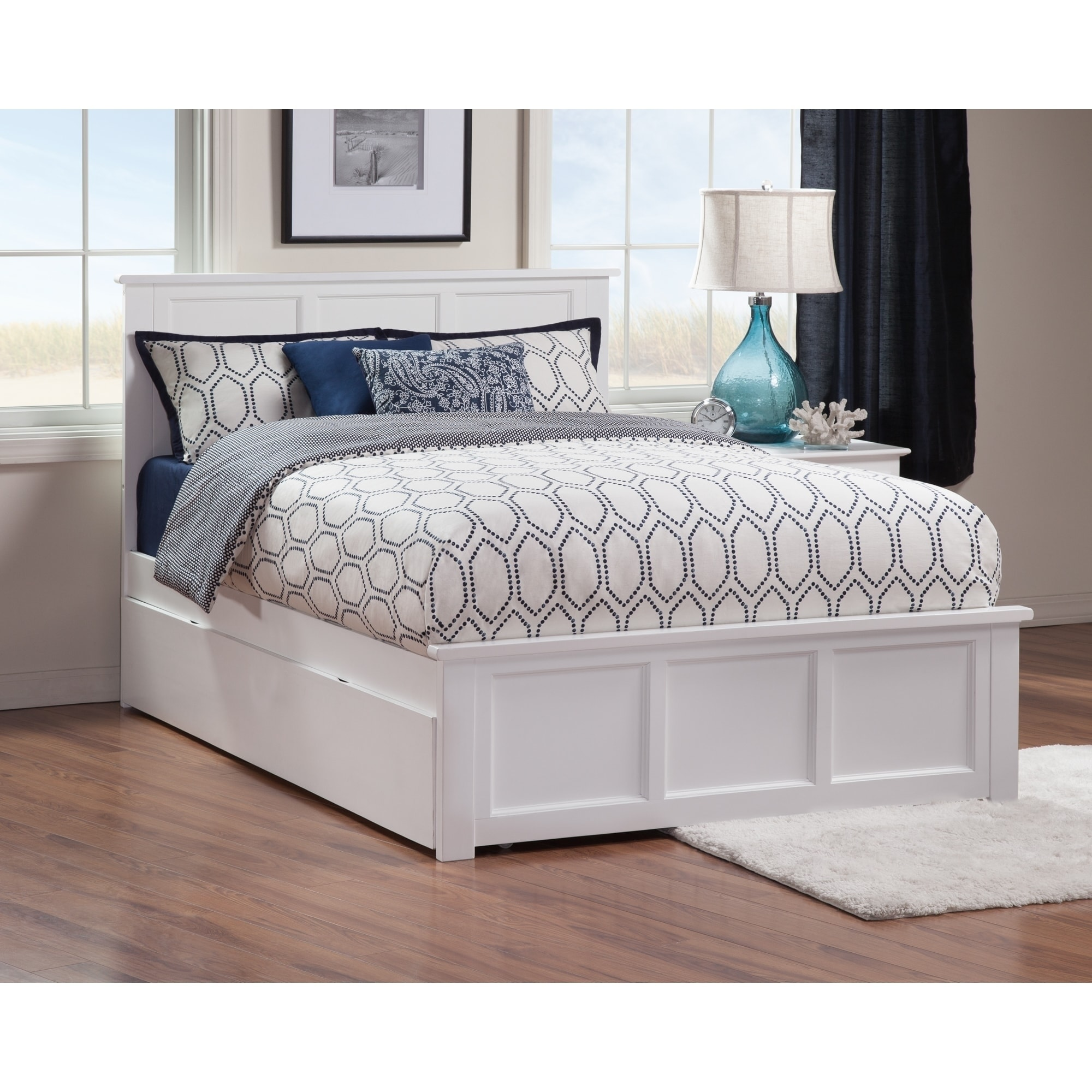 Madison White Full Platform Bed With Twin Trundle Overstock 13370471