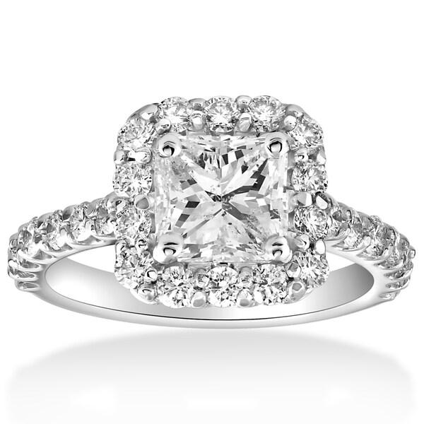 Shop 14k White Gold 2 cttw Halo Princess Square Cut Diamond Enhanced Engagement Ring  On Sale