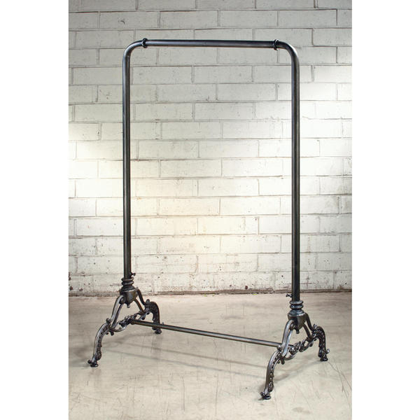 vintage black iron metal 56 inch clothing rack