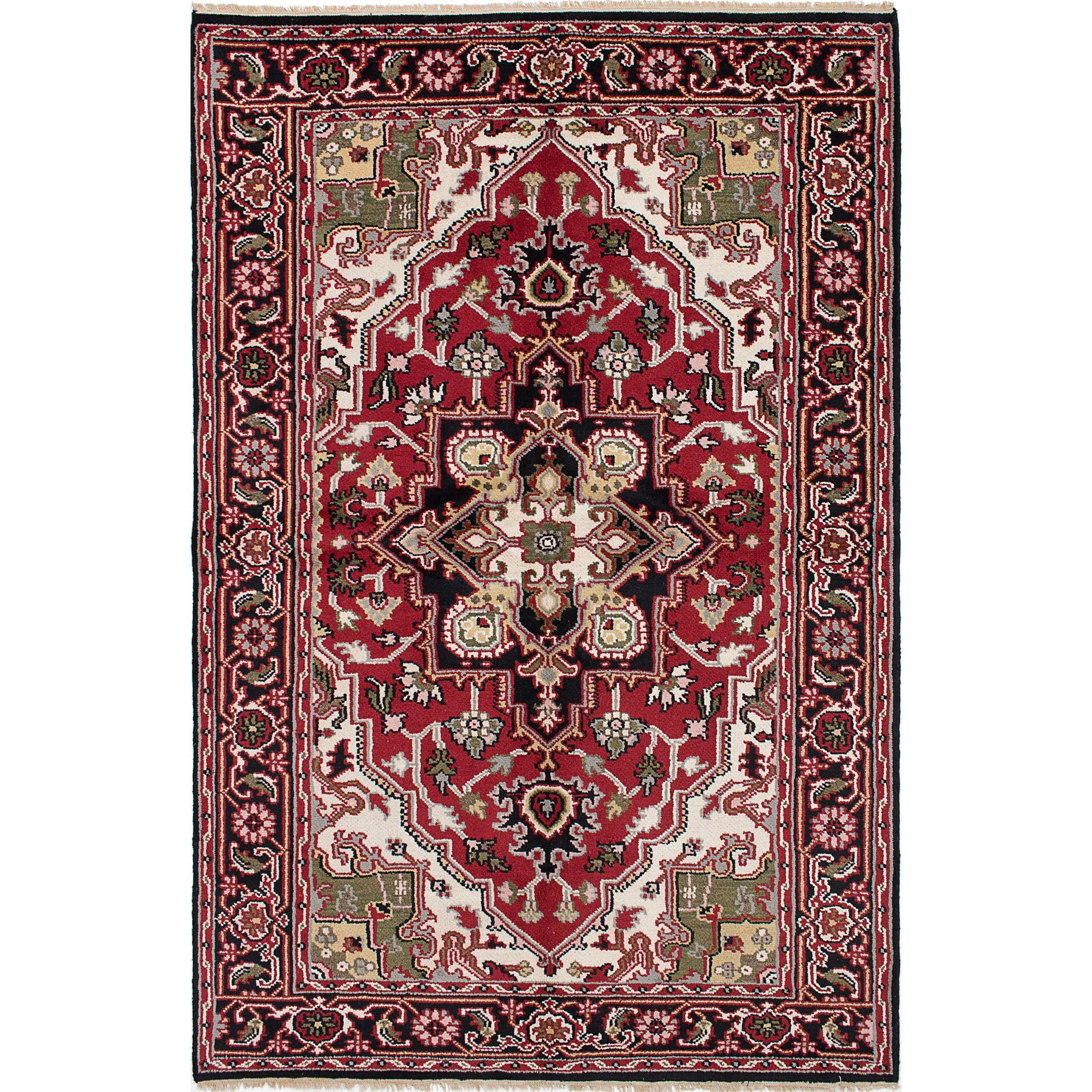 ecarpetgallery Hand-Knotted Royal Heriz Red Wool Rug (5'11 x 8'11)